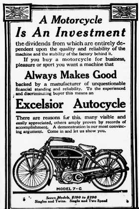 1914 excelsior cycle advertisement