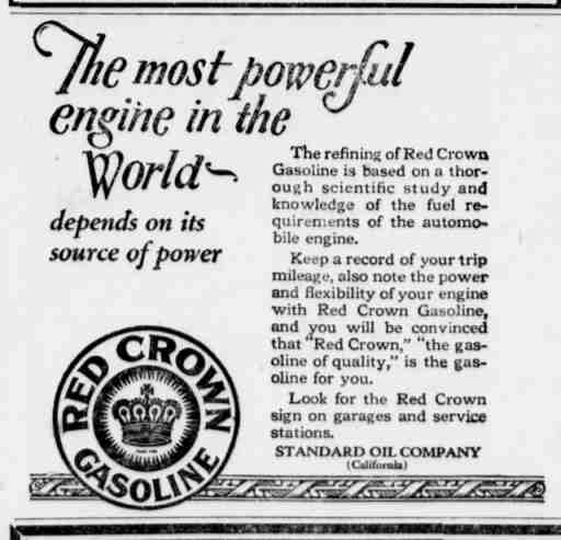 1921 red crown gasoline ad