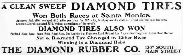 1909 diamond tire ad