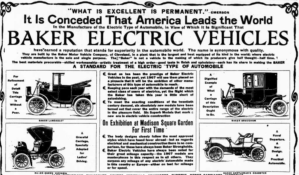 1907 baker electric car models